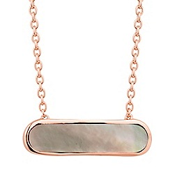 Simply Silver - Rose gold plated sterling silver grey agate bar necklace