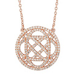 Simply Silver - Sterling silver signature rose gold open disc drop necklace