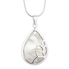Simply Silver - Sterling silver signature mother of pearl teardrop necklace