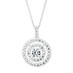 Simply Silver - Sterling silver double halo pendant with cubic zirconia