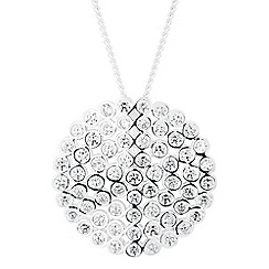 Simply Silver - Sterling silver cubic zirconia cluster disc pendant necklace