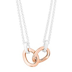 Simply Silver - Sterling silver double row necklace with rose gold plated central link