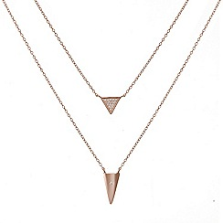 Simply Silver - Sterling silver rose gold plated double row triangle necklace
