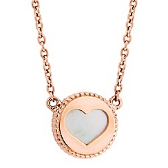Simply Silver - Sterling silver rose gold plated heart cut out necklace with mother of pearl detail