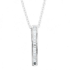 Simply Silver - Cubic zirconia sterling silver baguette stick pendant