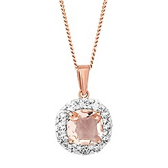Simply Silver - Rose gold plated sterling silver peach cubic zirconia cluster drop necklace