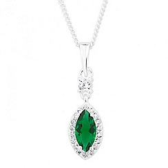 Simply Silver - Green cubic zirconia marquise sterling silver pendant necklace