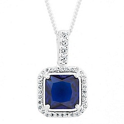 Simply Silver - Blue cubic zirconia square sterling silver halo pendant necklace