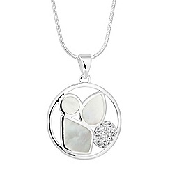 Simply Silver - Sterling silver cubic zirconia and mother of pearl cluster pendant