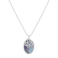 Simply Silver - Cubic zirconia overlay mother of pearl pendant necklace