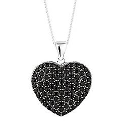 Simply Silver - Sterling silver black cubic zirconia heart locket necklace