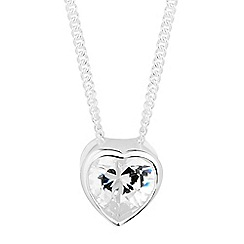 Simply Silver - Sterling silver cubic zirconia mini heart pendant necklace