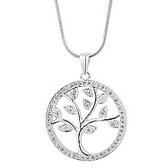 Simply Silver - Sterling silver cubic zirconia tree of life necklace