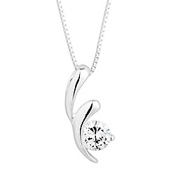 Simply Silver - Sterling silver cubic zirconia swirl necklace