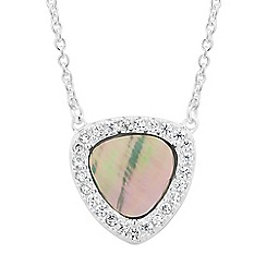 Simply Silver - Sterling silver abalone and cubic zirconia triangle necklace