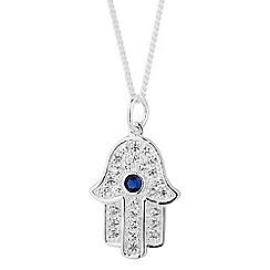 Simply Silver - Sterling silver cubic zirconia hamsa hand pendant necklace