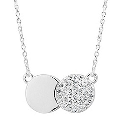 Simply Silver - Sterling silver cubic zirconia linked disc necklace