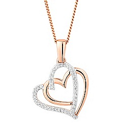 Simply Silver - Rose gold plated sterling silver pave double heart necklace