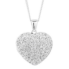 Simply Silver - Sterling silver pave cubic zirconia locket necklace