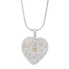 Simply Silver - Sterling silver mother of pearl double layer cubic zirconia pendant necklace