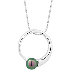 Simply Silver - Sterling silver black pearl disc pendant necklace