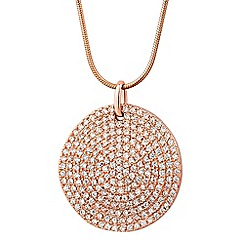 Simply Silver - Rose gold plated sterling silver pave disc necklace