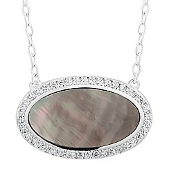 Simply Silver - Sterling silver oval mother of pearl pendant necklace