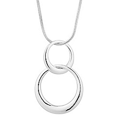Simply Silver - Sterling silver double ring link necklace