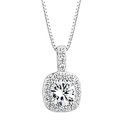 Simply Silver - Sterling silver cubic zirconia pave surround pendant necklace