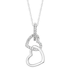 Simply Silver - Sterling silver cubic zirconia double heart drop necklace