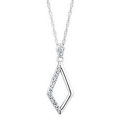 Simply Silver - Sterling silver pave open diamond shape pendant necklace