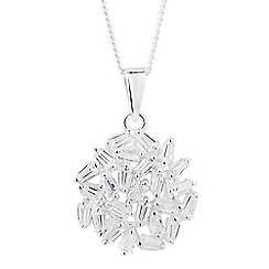 Simply Silver - Sterling silver cubic zirconia cluster pendant necklace