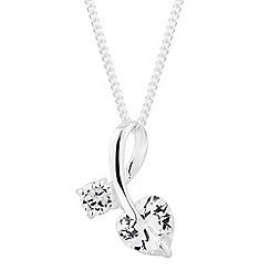 Simply Silver - Sterling silver cubic zirconia heart loop pendant necklace