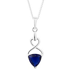 Simply Silver - Sterling silver blue trillion swirl pendant necklace