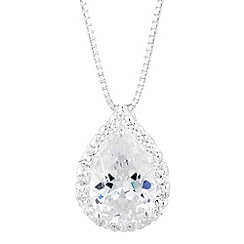 Simply Silver - Sterling silver cubic zirconia peardrop pendant necklace