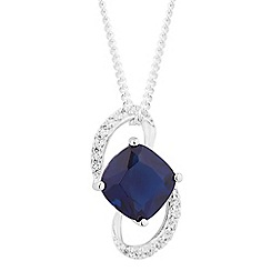 Simply Silver - Sterling silver blue cubic zirconia swirl pendant necklace