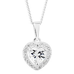 Simply Silver - Sterling silver cubic zirconia halo heart pendant necklace