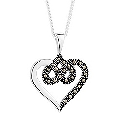 Simply Silver - Sterling silver marcasite twisted heart pendant necklace