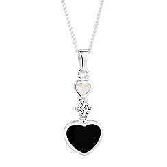Simply Silver - Sterling silver mother of pearl double drop heart pendant necklace