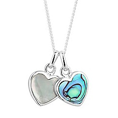 Simply Silver - Sterling silver mother of pearl and abalone double heart necklace