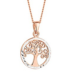 Simply Silver - Rose gold plated sterling silver tree of life necklace