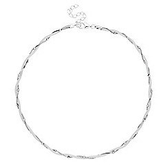 Simply Silver - Sterling silver bead twist mesh necklace