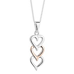 Simply Silver - Sterling silver two tone triple heart pendant necklace
