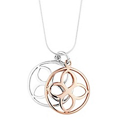 Simply Silver - Sterling silver two tone open disc pendant necklace