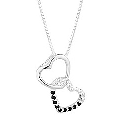 Simply Silver - Sterling silver black cubic zirconia interlinked heart necklace