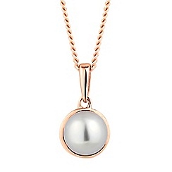 Simply Silver - Rose gold plated sterling silver grey pearl necklace