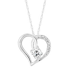 Simply Silver - Sterling silver cubic zirconia open heart pendant necklace