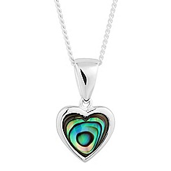Simply Silver - Sterling silver small abalone heart pendant necklace