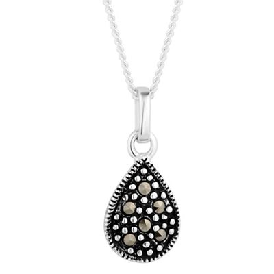 Simply Silver Sterling silver marcasite peardrop necklace