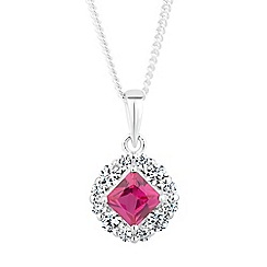 Simply Silver - Square cubic zirconia surround pendant necklace